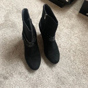 Women's Black Faux Suede Ankle Boots - Size 12W